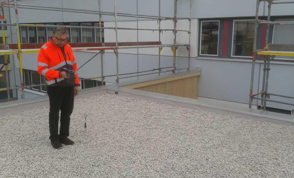 Flachdach, Dichtigkeitsprüfung, Dachscan, Anwendung Sensoren Flachdach