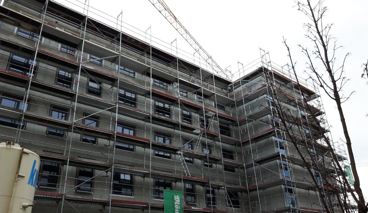 Baubesprechung Flachdach, Dämmung, Sensoren, von unten