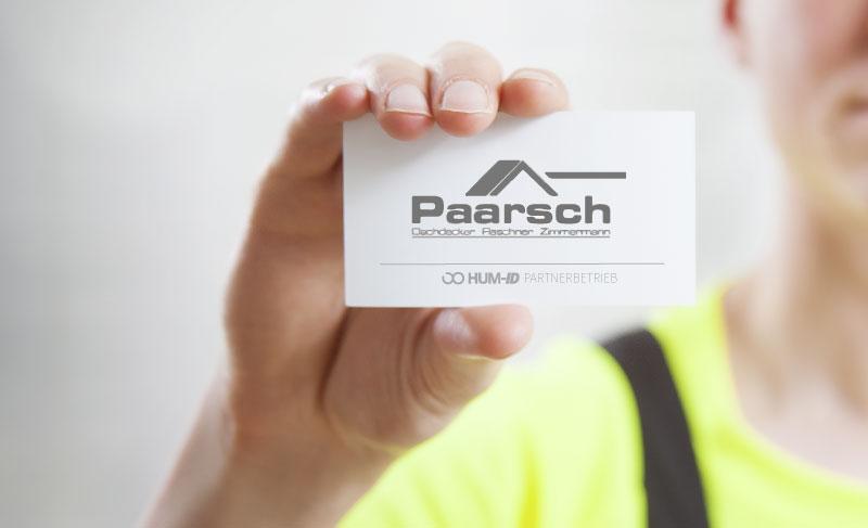 Partner Paarsch Dachdecker Visitenkarte